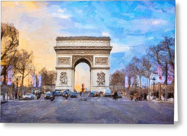 Arc De Triomphe - A Paris Landmark Greeting Card by Mark E Tisdale