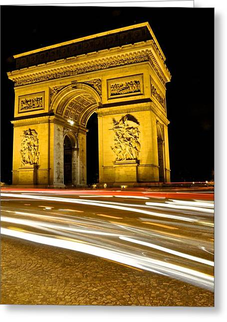 Paris At Night Greeting Cards - Arc de Triomphe at night Greeting Card by Matt MacMillan