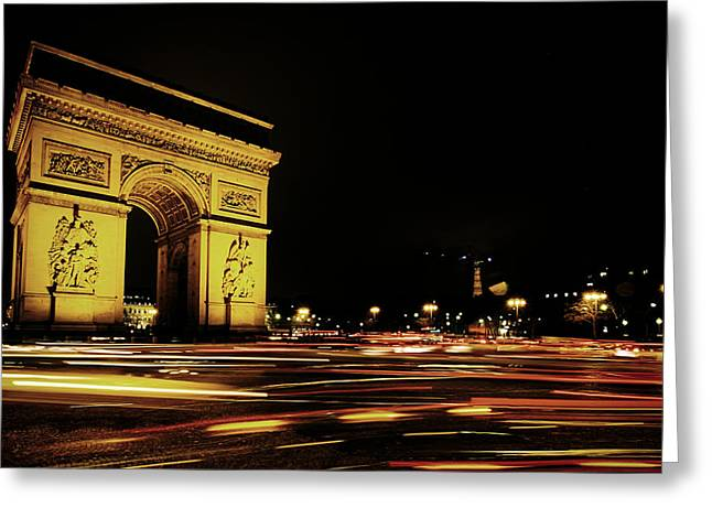 Champs Greeting Cards - Arc de Triomphe at Night Greeting Card by Mountain Dreams