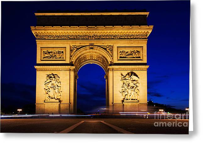 Champs Greeting Cards - Arc de Triomphe at night Paris France Greeting Card by Michal Bednarek