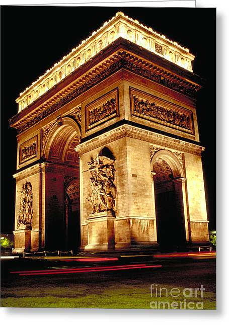 Paris At Night Greeting Cards - Arc De Triomphe Greeting Card by Dale E. Boyer