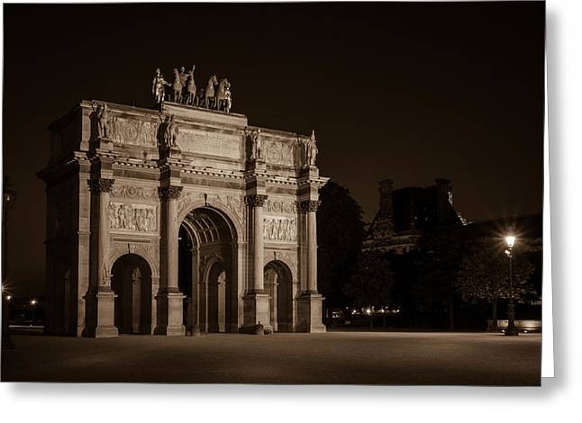 Night Lamp Greeting Cards - Arc de Triomphe du Carrousel Greeting Card by Mark Llewellyn