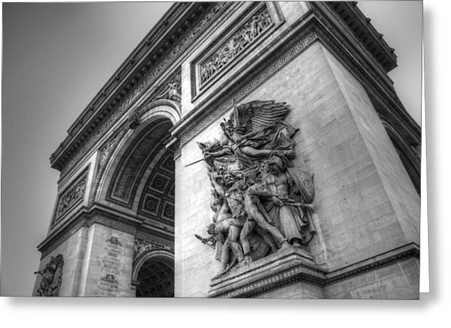 Arc De Triomphe Greeting Cards - Arc de Triomphe in Black and White Greeting Card by Jennifer Lyon