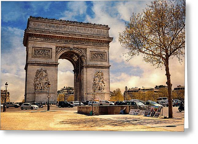 Champs Greeting Cards - Arc De Triomphe Greeting Card by Maria Angelica Maira