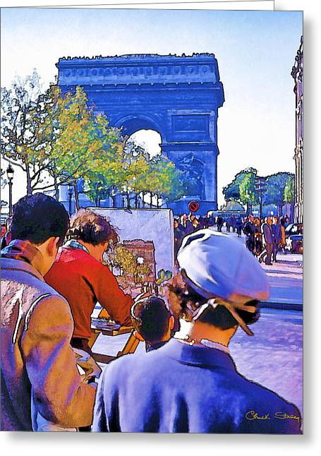 Staley Photographs Greeting Cards - Arc de Triomphe Painter Greeting Card by Chuck Staley