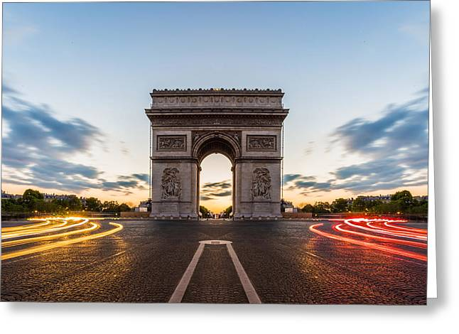 Champs Greeting Cards - Arc de Triomphe Paris Greeting Card by Nattee Chalermtiragool