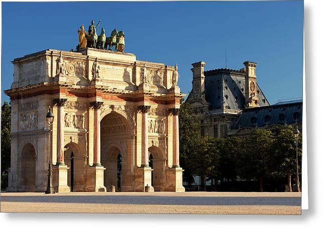 Arc Du Triomphe Du Carrousel Near Musee Greeting Card by Brian Jannsen