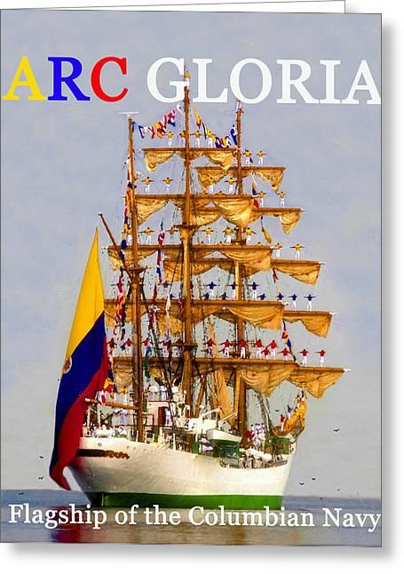 Tall Ship Greeting Cards - ARC Gloria salute Greeting Card by David Lee Thompson