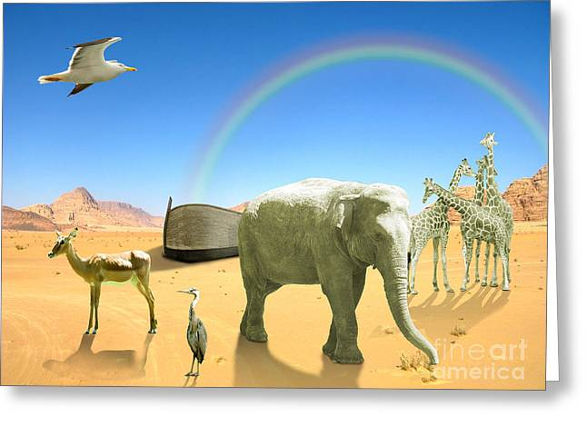 Wooden Ship Greeting Cards - Arc of Noah with elephant birds giraffes in desert with rainbow Greeting Card by Gino De Graaf