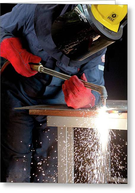 Arc Welder At Work Greeting Card by Crown Copyright/health & Safety Laboratory Science Photo Library