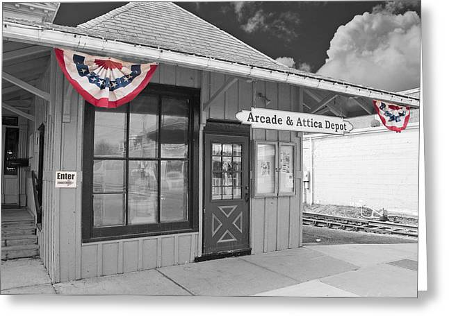 Arcade And Attica Depot Greeting Card by Guy Whiteley