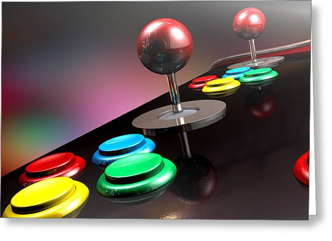 Operating Greeting Cards - Arcade Control Panel With Joystick And Buttons Greeting Card by Allan Swart
