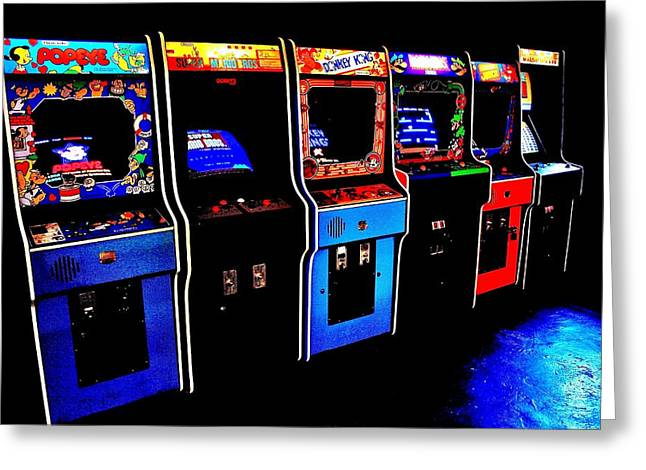 Coins Greeting Cards - Arcade Forever Nintendo Greeting Card by Benjamin Yeager