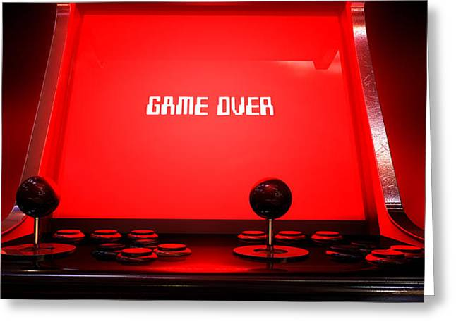 Buttons Greeting Cards - Arcade Game Game Over Greeting Card by Allan Swart