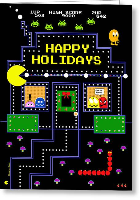 Arcade Holiday Greeting Card by Shawna Rowe