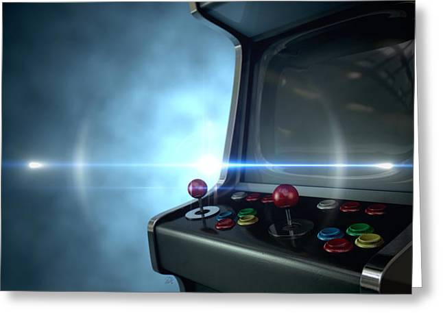 Buttons Greeting Cards - Arcade Machine Dramatic View Greeting Card by Allan Swart