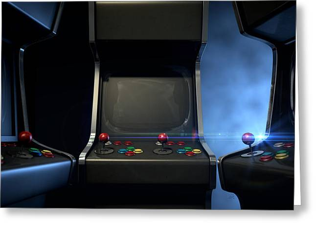 Console Greeting Cards - Arcade Machine Group Huddle Greeting Card by Allan Swart