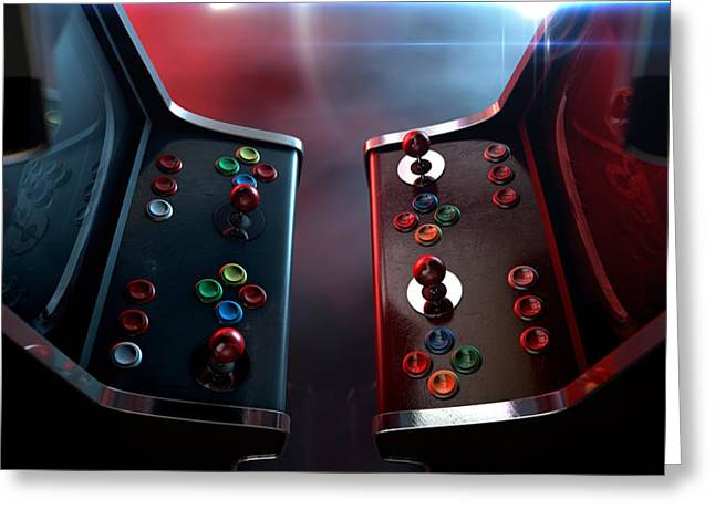 Opponent Greeting Cards - Arcade Machine Opposing Duel Greeting Card by Allan Swart