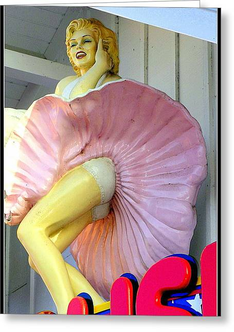 Norma Jean Photographs Greeting Cards - Arcade Marilyn Greeting Card by Kathy Barney