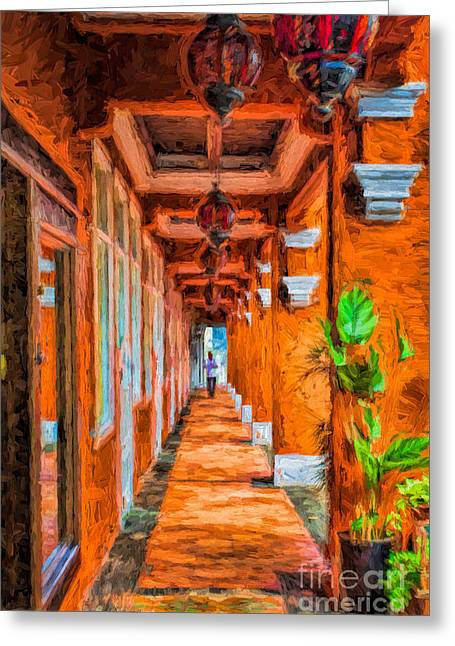 Asien Greeting Cards - Arcaded Sidewalk Greeting Card by Joerg Lingnau
