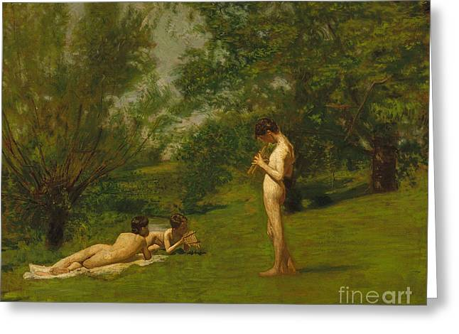 Best Sellers -  - Youthful Greeting Cards - Arcadia circa 1883 Greeting Card by Thomas Cowperthwait Eakins