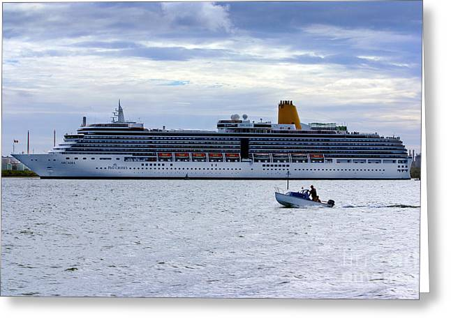 Boat Cruise Greeting Cards - Arcadia Leaving Southampton Greeting Card by Terri  Waters