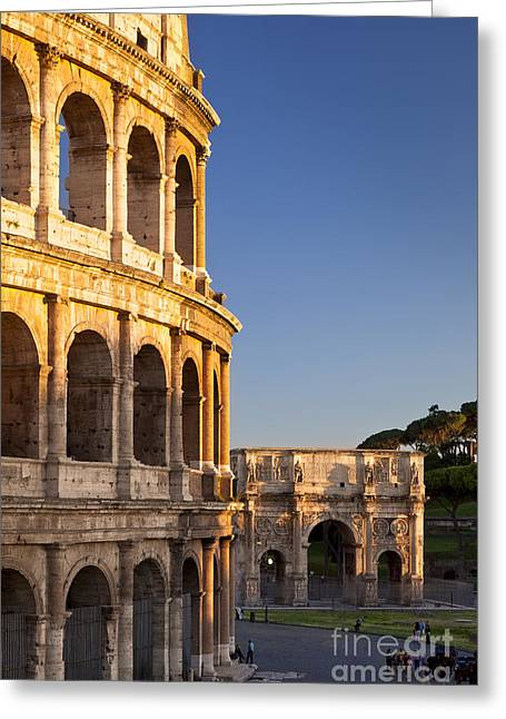 Italian Sunset Greeting Cards - Arch and Coliseum  Greeting Card by Brian Jannsen