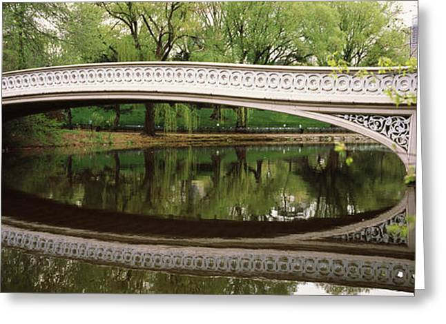 Park Scene Greeting Cards - Arch Bridge Across A Lake, Central Greeting Card by Panoramic Images