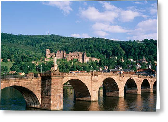 Reflections In River Greeting Cards - Arch Bridge Across A River, Neckar Greeting Card by Panoramic Images