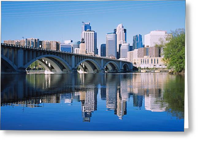 Hennepin Greeting Cards - Arch Bridge Across A River Greeting Card by Panoramic Images