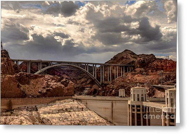 Haybales Greeting Cards - Arch Bridge and Hoover Dam Greeting Card by Robert Bales