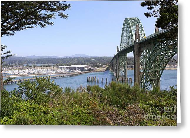Yaquina Bay Bridge Greeting Cards - Arch Bridge At Yaquima Bay Greeting Card by Christiane Schulze Art And Photography