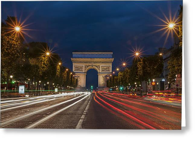 Champs Greeting Cards - Arch de Triomphe and Avenue des Champs Elysees Paris France Greeting Card by Ayhan Altun
