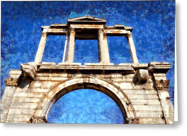 Voyage Greeting Cards - Arch of Hadrian Greeting Card by George Atsametakis
