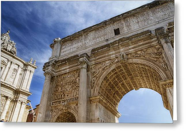 Religion Greeting Cards - Arch of Septimius Severus Greeting Card by Joan Carroll
