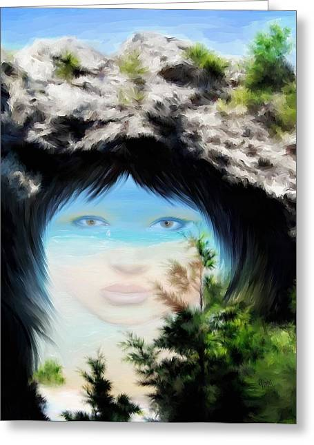 Indian Princess Greeting Cards - Arch Rock Indian Princess Greeting Card by Yvonne Della-Moretta