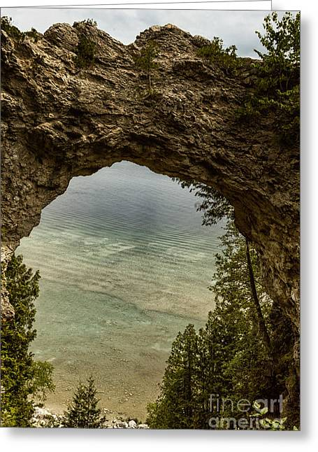 Arches National Park Pine Trees Greeting Cards - Arch Rock Mackinac Island Greeting Card by Margie Hurwich