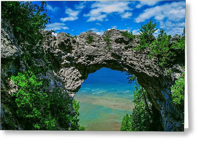 Michigan Pyrography Greeting Cards - Arch Rock Greeting Card by Rick Bartrand