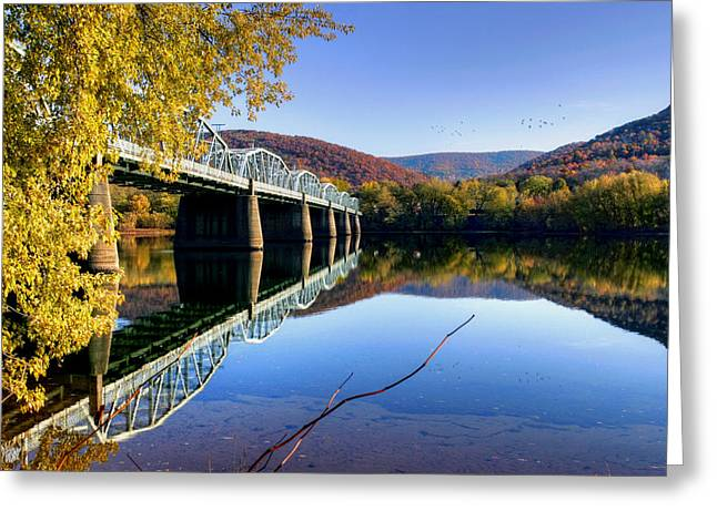 Williamsport Greeting Cards - Arch Street Bridge In Autumn Greeting Card by Gene Walls