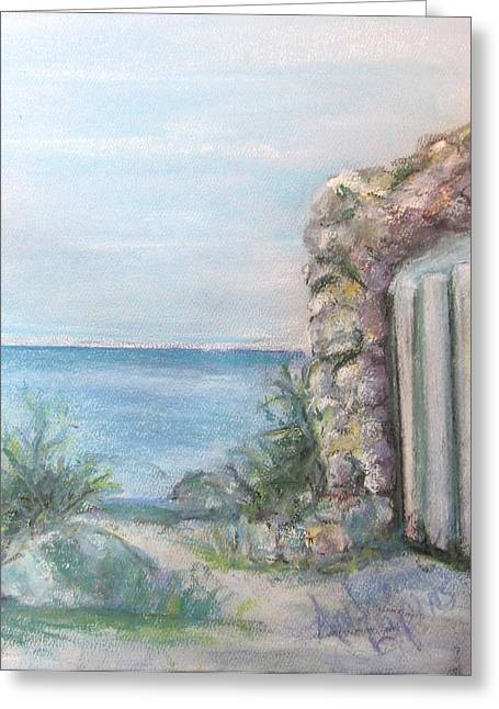 Portal Pastels Greeting Cards - Arch to the Sea Greeting Card by Andrea Flint Lapins