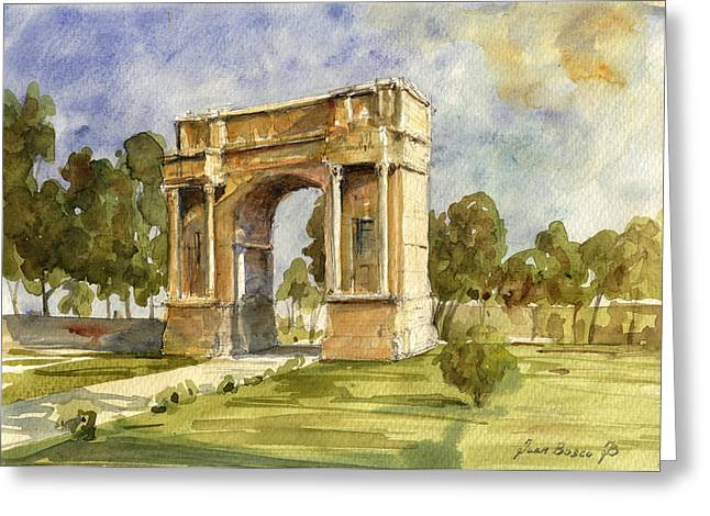 Art Roman Greeting Cards - Arch triumphal of Antonius Pius at Tunisia Greeting Card by Juan  Bosco