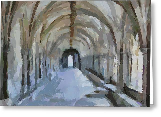 Old Town Digital Art Greeting Cards - Arch Way Greeting Card by Yury Malkov
