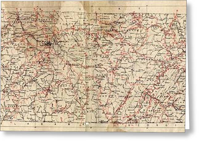 Mound Drawings Greeting Cards - Archaeological Map of the State of Tennessee Greeting Card by Cody Cookston