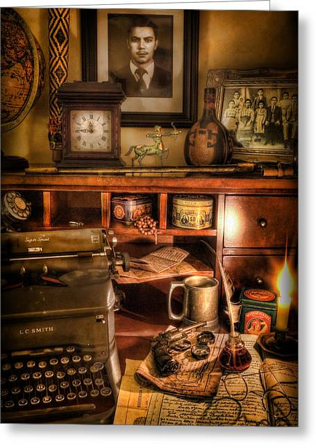 Typewriter Greeting Cards - Archaeologist - The Adventurers Hutch  Greeting Card by Lee Dos Santos