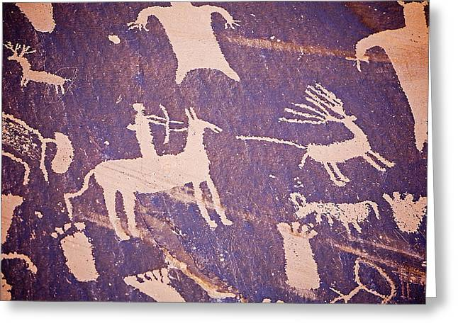 Newspaper Rock Sandstone Greeting Cards - Archaic Petroglyphs At Newspaper Rock Greeting Card by Buddy Mays