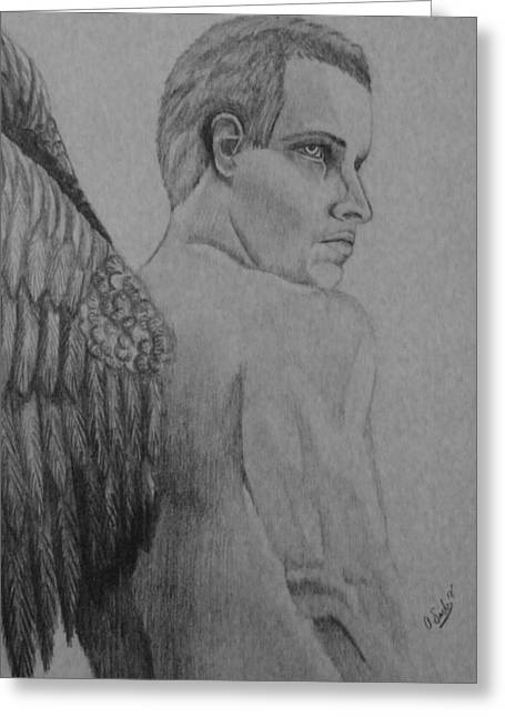 Archangel Drawings Greeting Cards - Archangel Greeting Card by Angel Surber