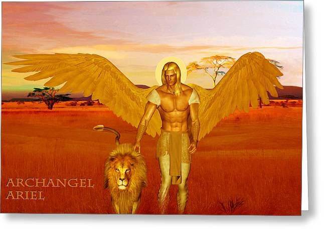 Kelly Mixed Media Greeting Cards - Archangel Ariel Greeting Card by Valerie Anne Kelly