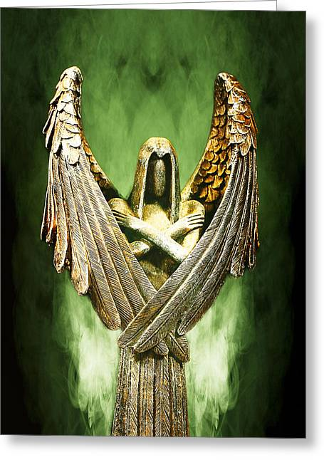 Archangel Greeting Cards - Archangel Azrael Greeting Card by Bill Tiepelman