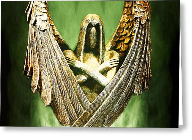 Archangel Azrael Greeting Card by Bill Tiepelman