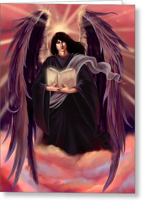 Archangel Azrael Greeting Cards - Archangel Azrael Greeting Card by Dawn Marshall